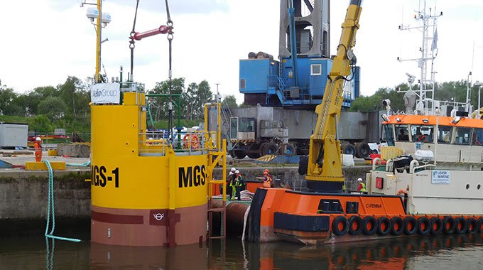 Minesto's micro grid system buoy in the River Clyde prior to the tow to Holyhead.