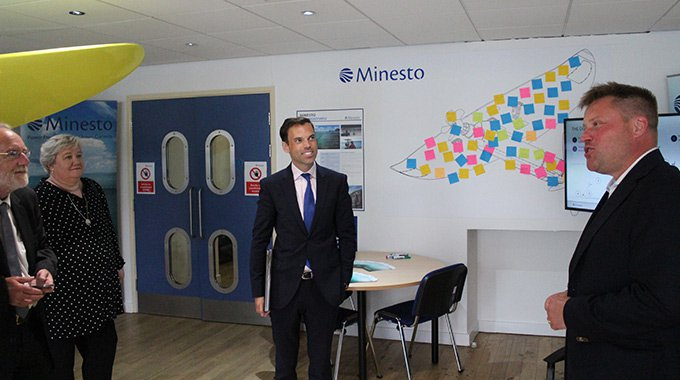 Ken Skates AM being updated on Minesto's operations in Wales by the company's CEO Dr Martin Edlund. Photo: Minesto