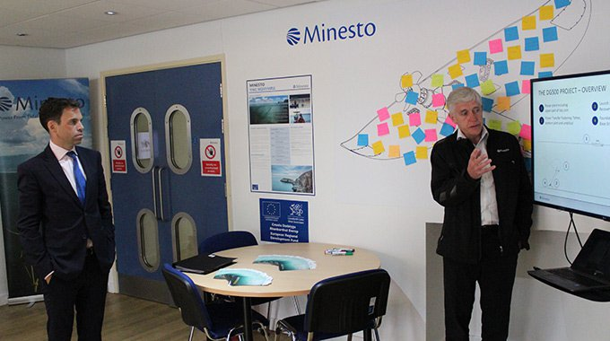 Ken Skates AM being updated on Minesto's DG500 project in Wales by the company's COO David Collier. Photo: Minesto