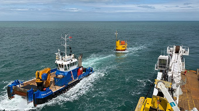 The MGS buoy after completed installation in the Holyhead Deep. Photo: David Collier.