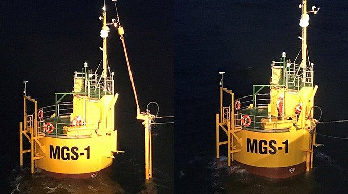 The umbilical being installed to Minesto's micro grid system buoy at Holyhead Deep, Wales. Photo: Minesto