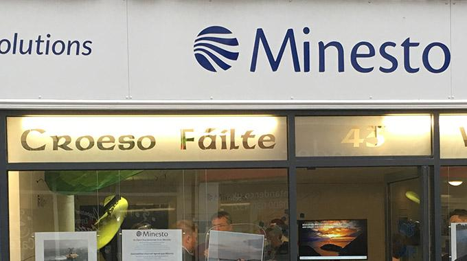 The front facade of Minesto's visitor centre at the offices in Holyhead, Wales.