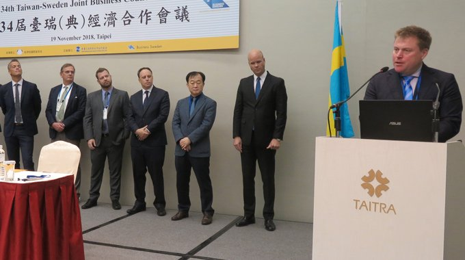 Minesto's CEO Dr Martin Edlund presents at the Taiwan-Sweden Joint Business Council Meeting 2018 in Taipei. Photo: Business Sweden